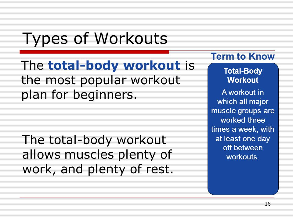 Types of Workouts Total-Body Workout.