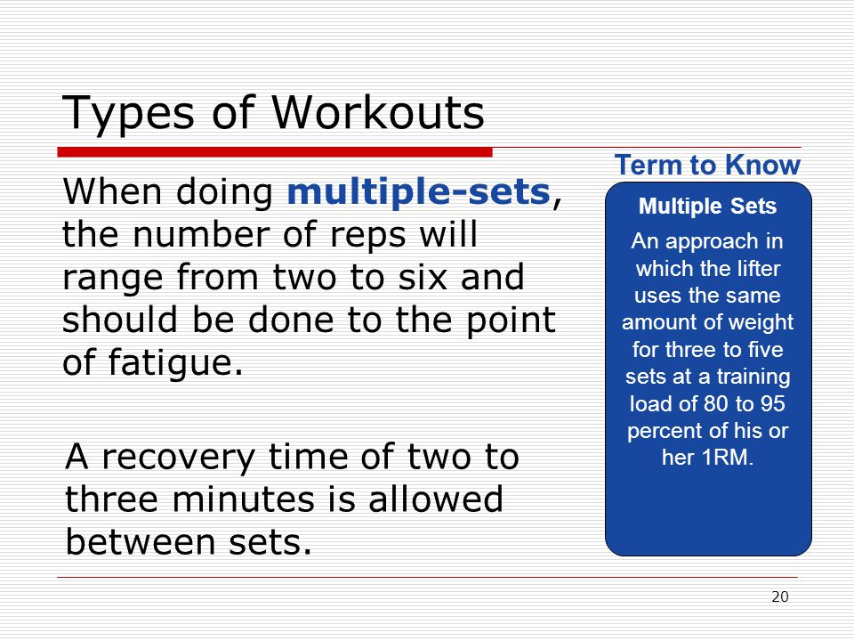 Types of Workouts Multiple Sets.