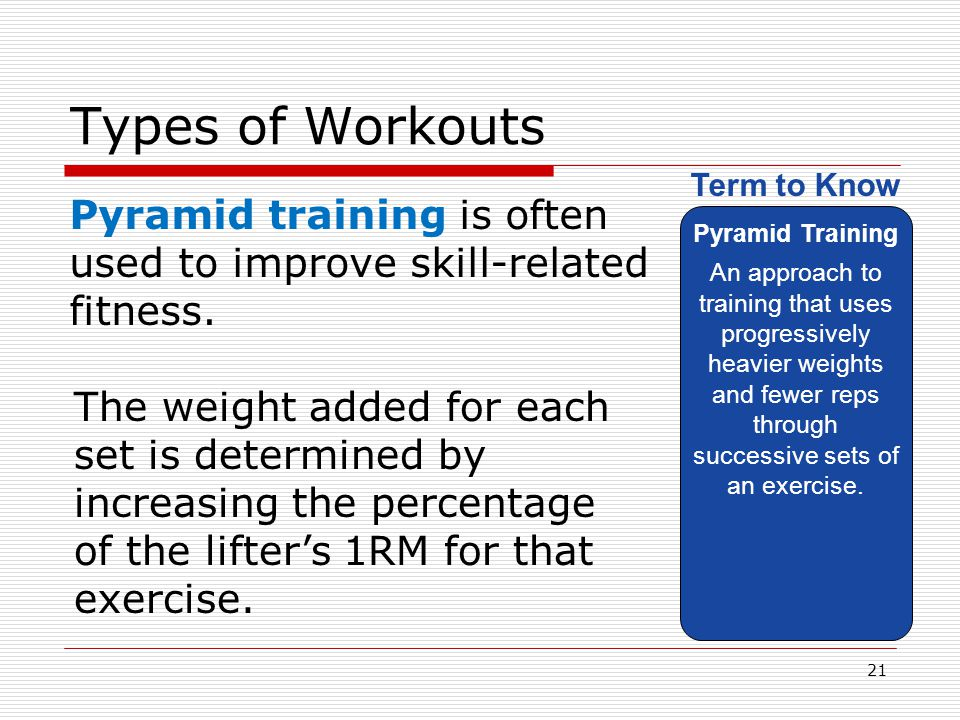 Types of Workouts Pyramid Training.