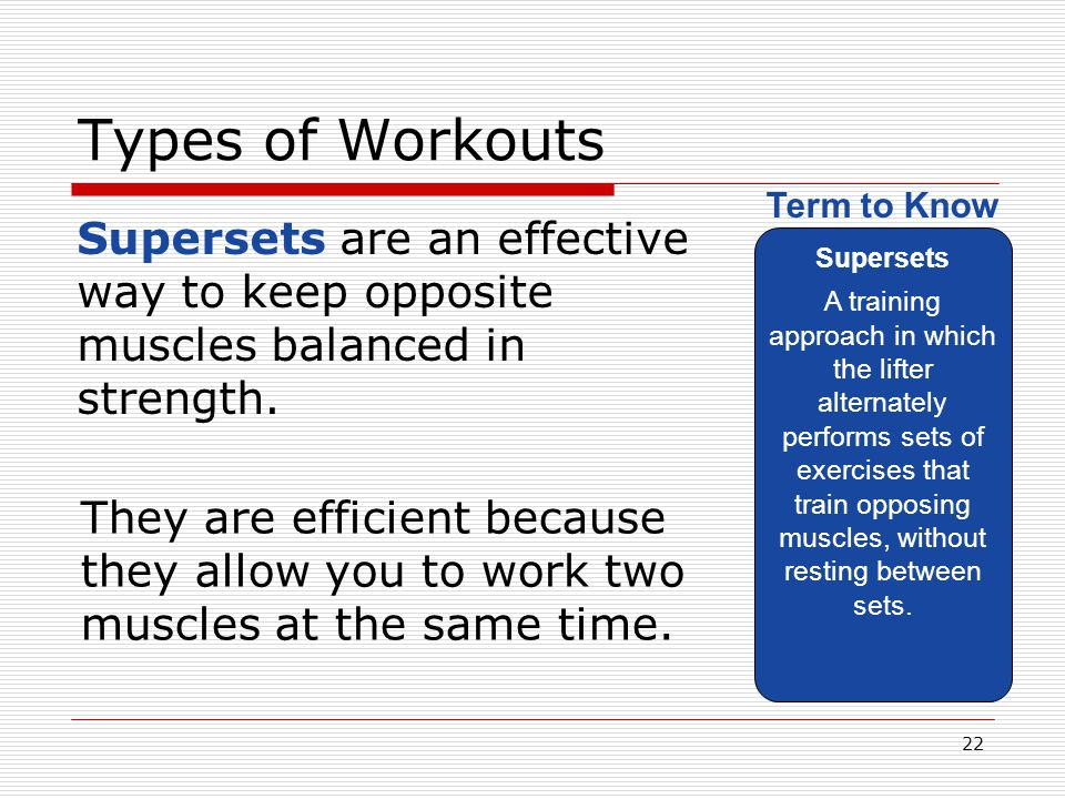Types of Workouts Supersets.
