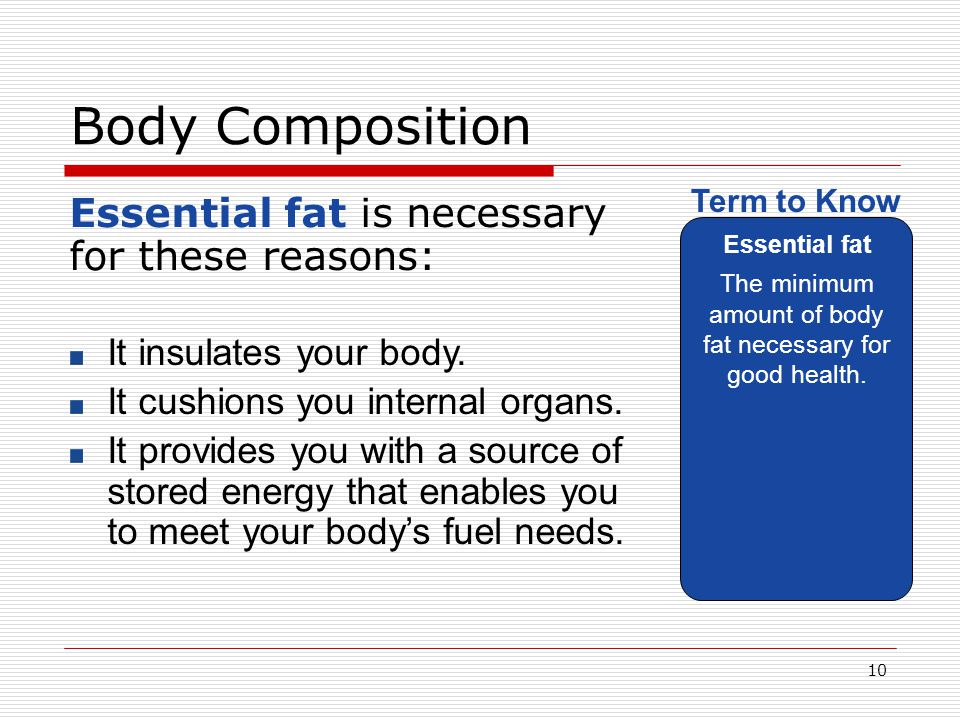 The minimum amount of body fat necessary for good health.