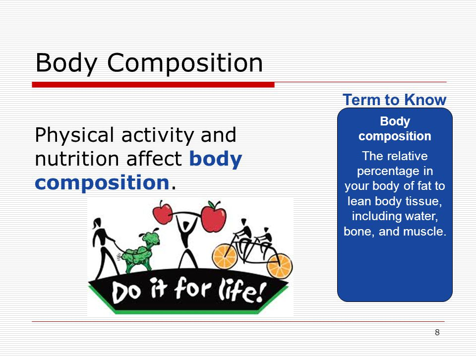 Body Composition Body composition. The relative percentage in your body of fat to lean body tissue, including water, bone, and muscle.
