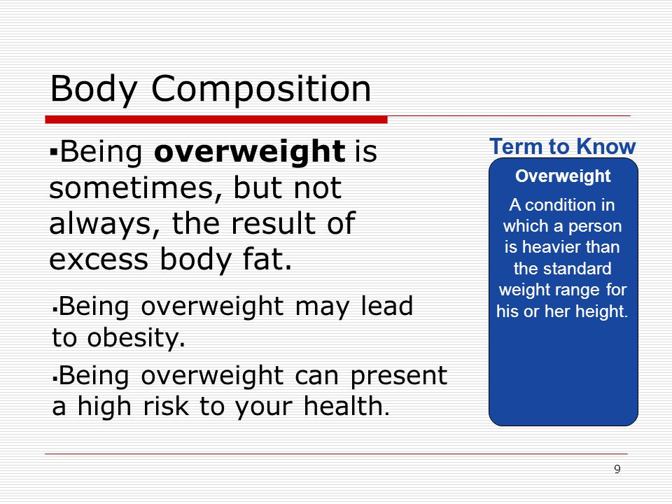 Body Composition Being overweight is sometimes, but not always, the result of excess body fat. Overweight.