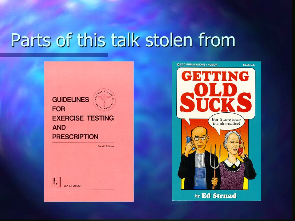 Parts of this talk stolen from