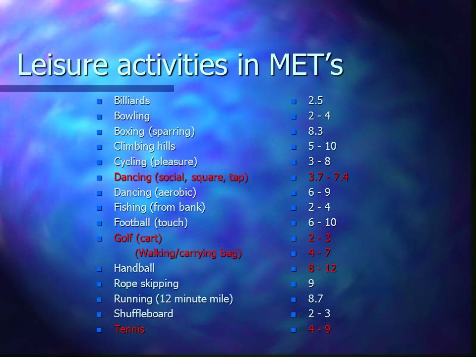 Leisure activities in MET's