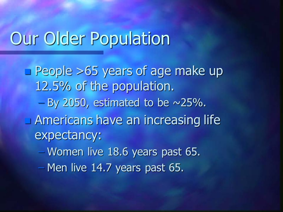 Our Older Population People >65 years of age make up 12.5% of the population. By 2050, estimated to be ~25%.