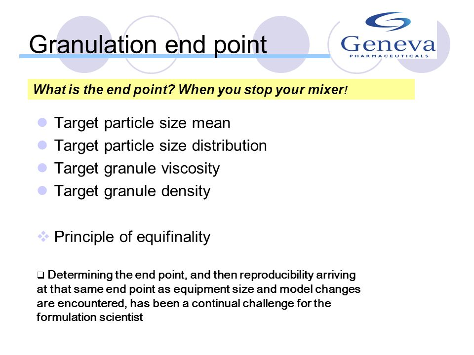Granulation end point Target particle size mean