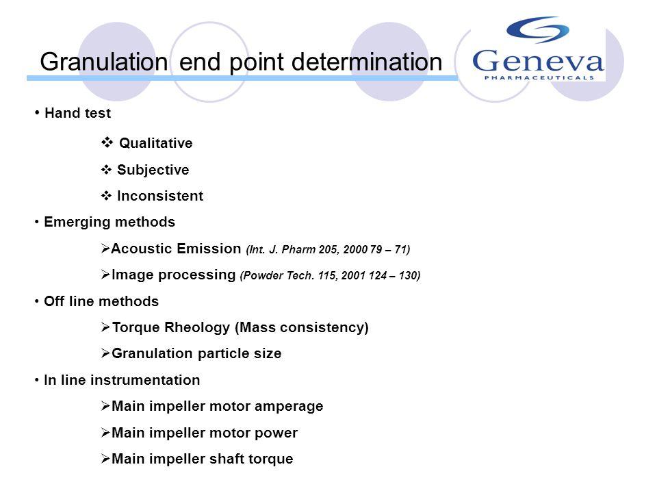 Granulation end point determination
