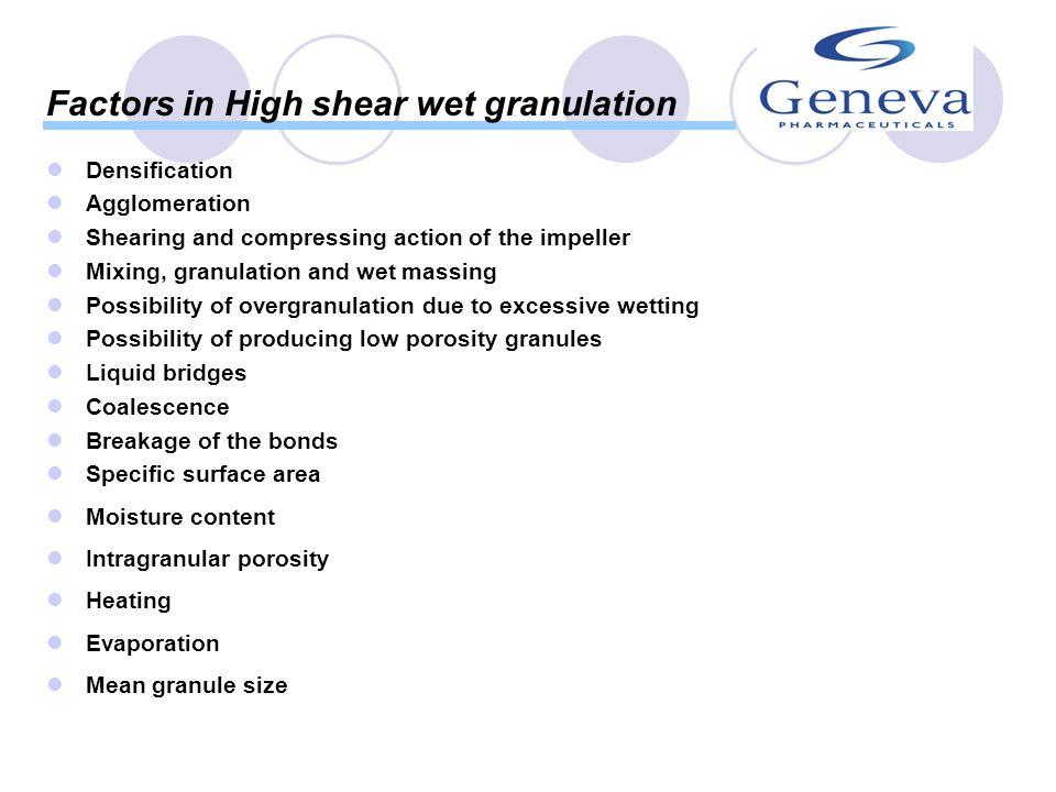 Factors in High shear wet granulation