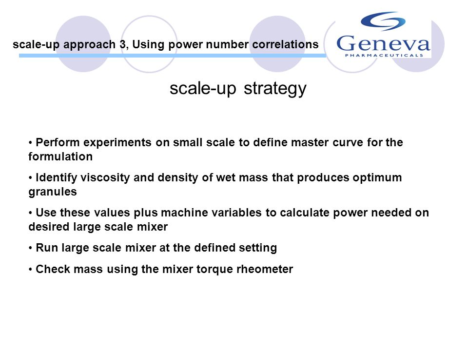 scale-up approach 3, Using power number correlations