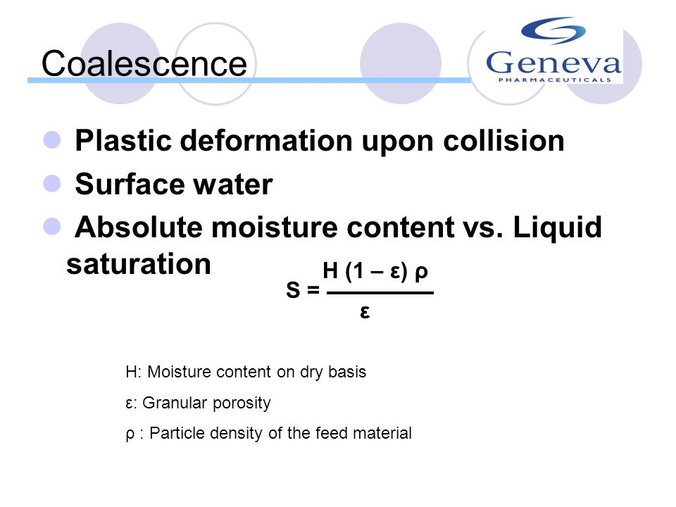 Coalescence Plastic deformation upon collision Surface water