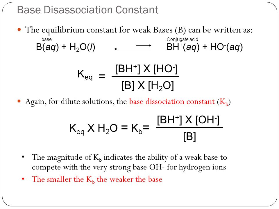 Base Disassociation Constant