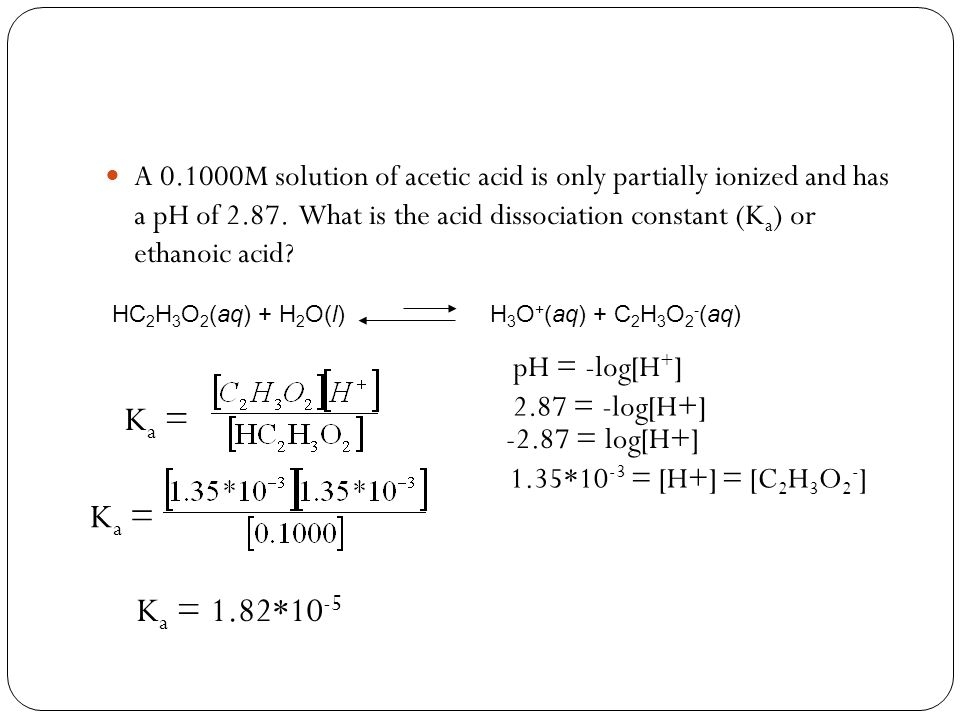 A 0.1000M solution of acetic acid is only partially ionized and has a pH of 2.87. What is the acid dissociation constant (Ka) or ethanoic acid