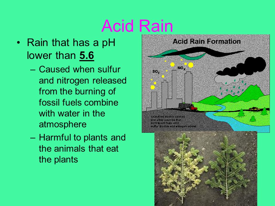 Acid Rain Rain that has a pH lower than 5.6