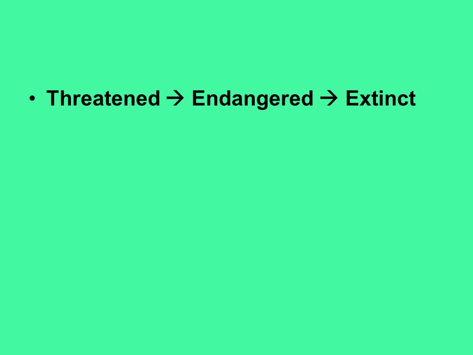 Threatened  Endangered  Extinct