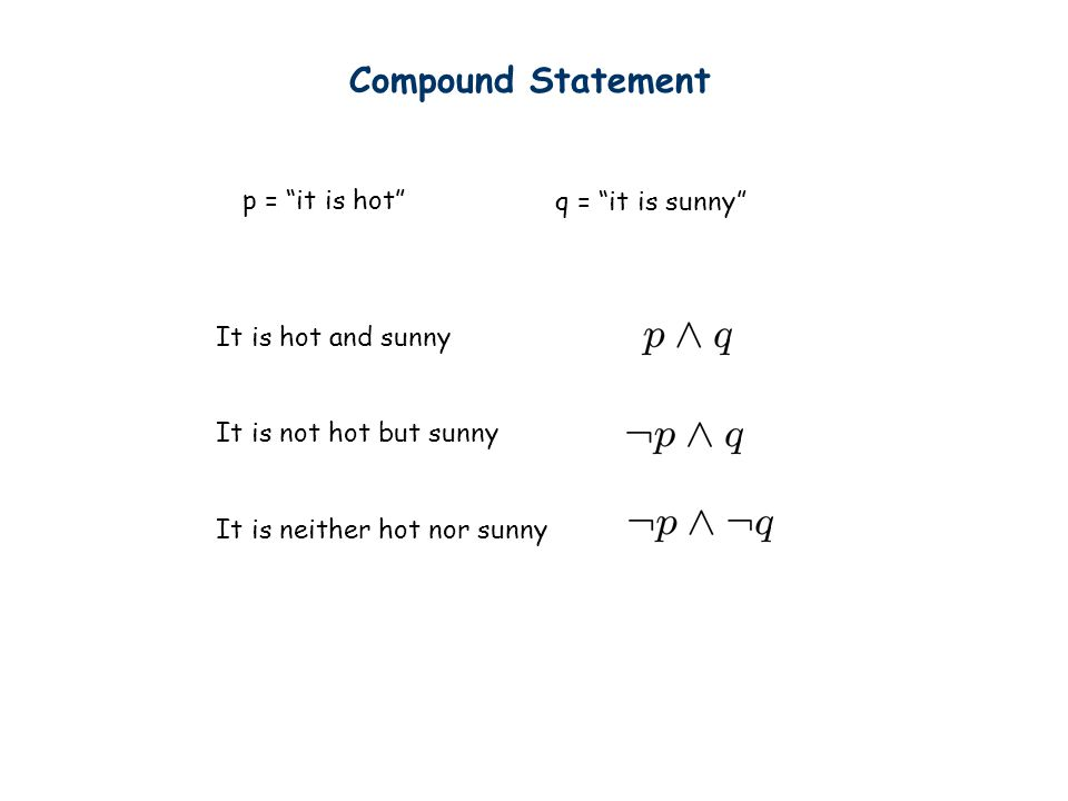 Compound Statement p = it is hot q = it is sunny