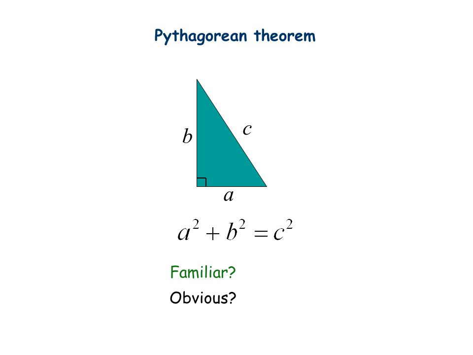 Pythagorean theorem c b a Familiar Obvious