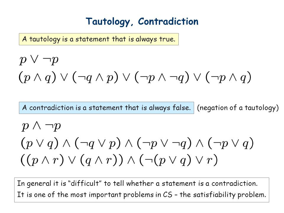 Tautology, Contradiction
