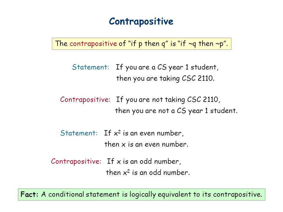 Contrapositive The contrapositive of if p then q is if ~q then ~p .
