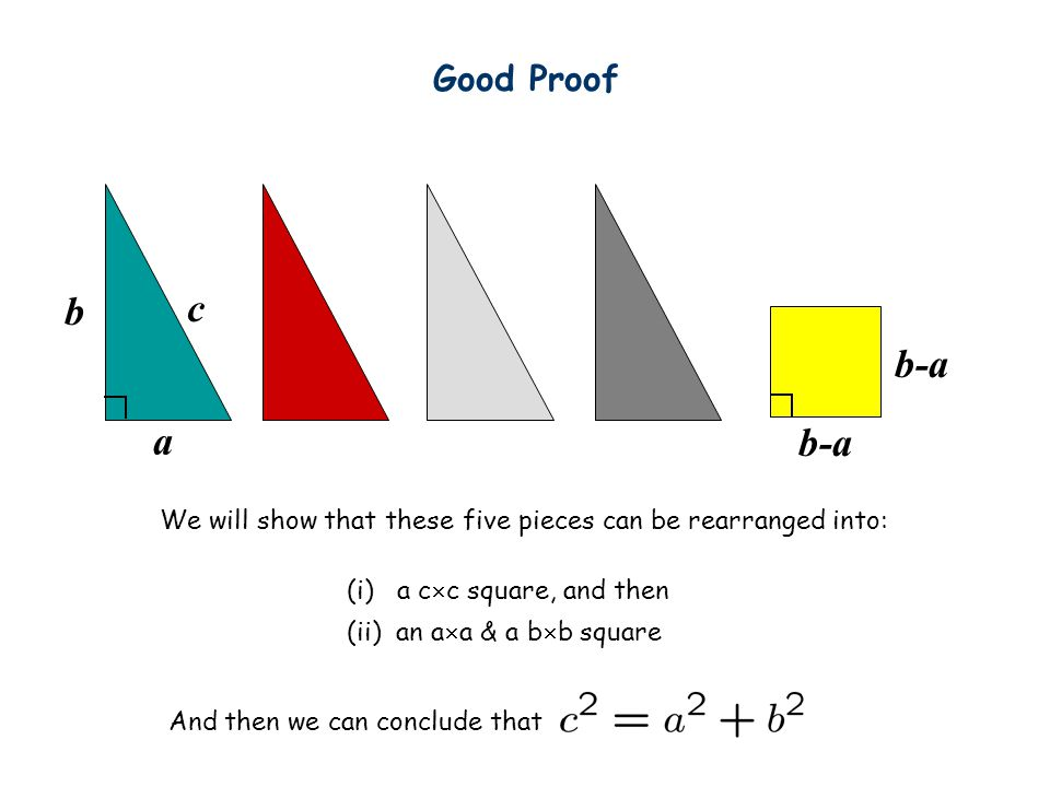 Good Proof b. c. b-a. a. b-a. We will show that these five pieces can be rearranged into: (i) a cc square, and then.