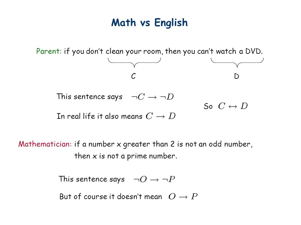 Math vs English Parent: if you don't clean your room, then you can't watch a DVD. C. D. This sentence says.