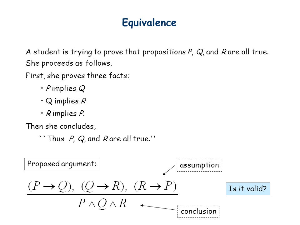 Equivalence A student is trying to prove that propositions P, Q, and R are all true. She proceeds as follows.