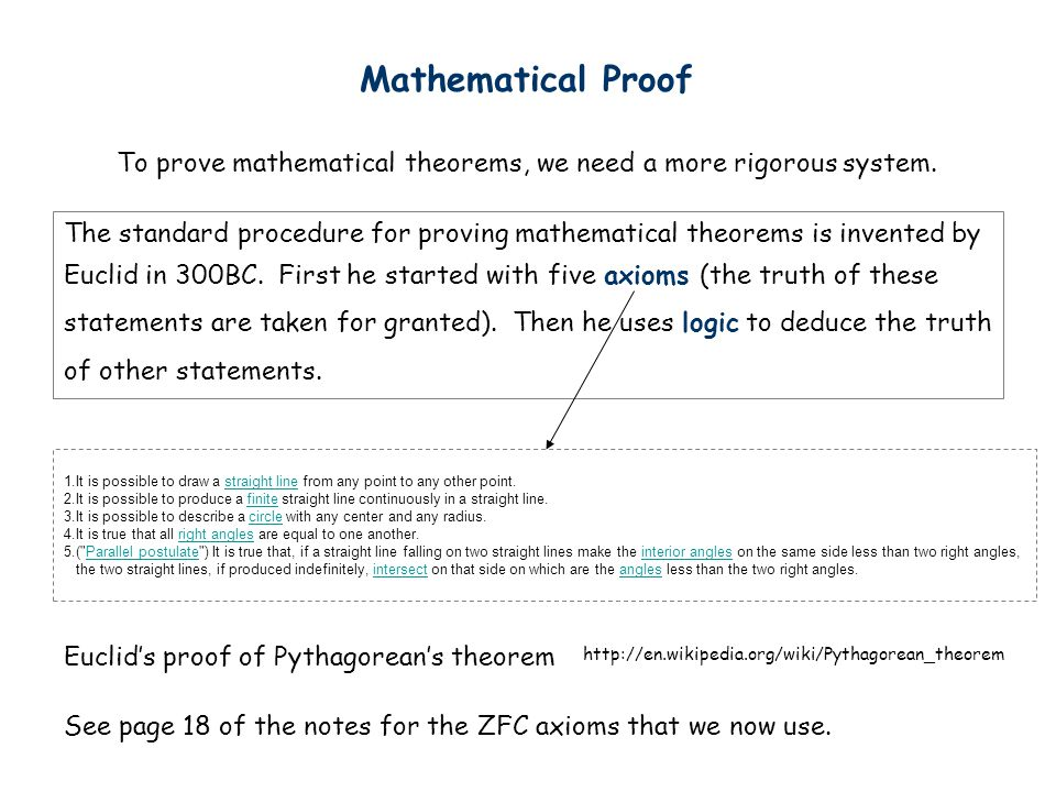Mathematical Proof To prove mathematical theorems, we need a more rigorous system.