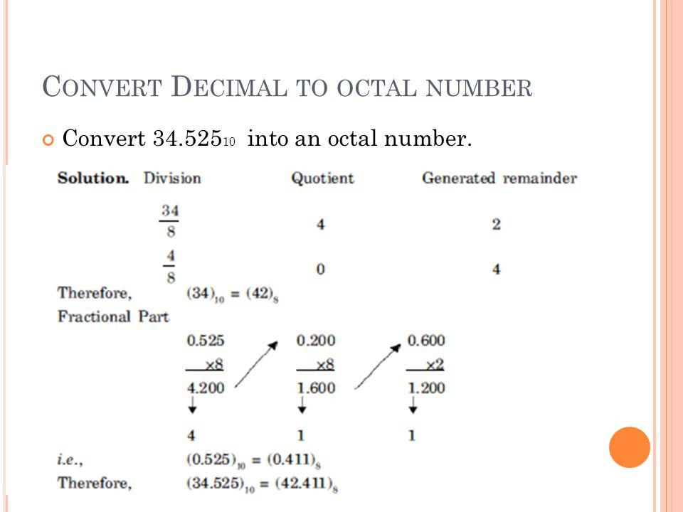 Convert Decimal to octal number
