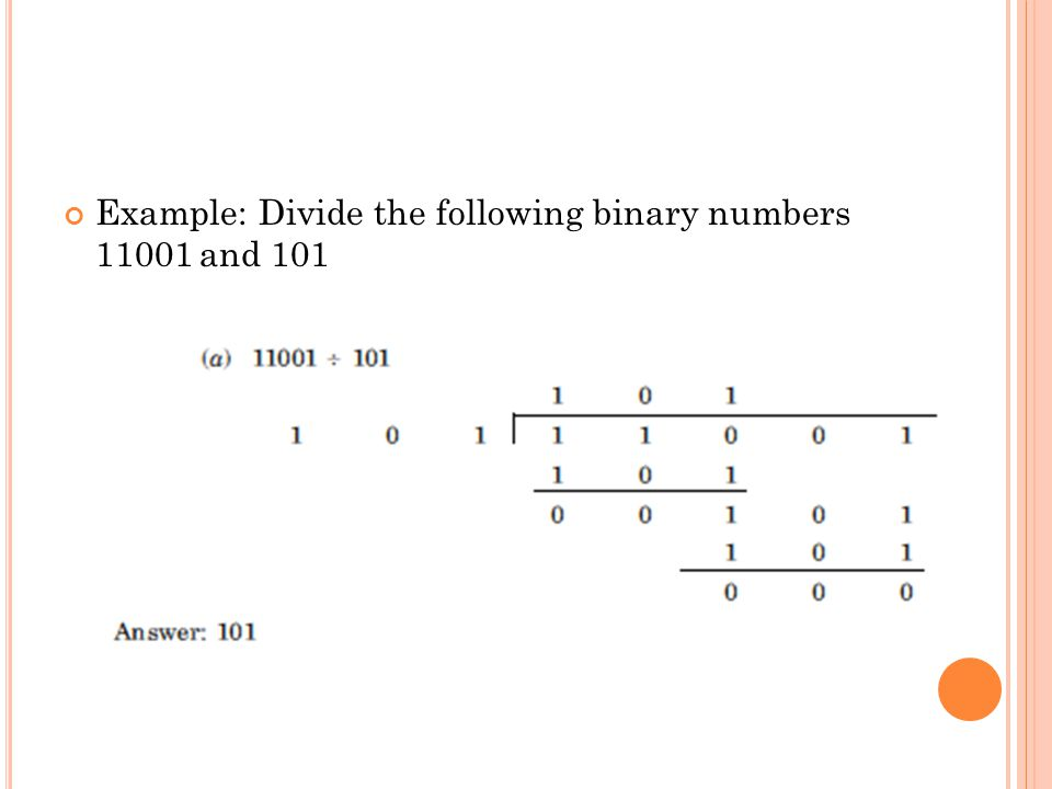 Example: Divide the following binary numbers 11001 and 101