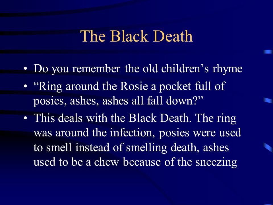 The Black Death Do you remember the old children's rhyme