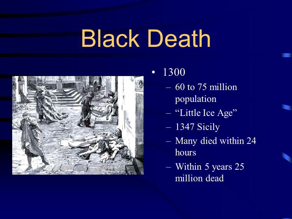 Black Death 1300 60 to 75 million population Little Ice Age