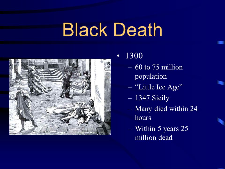 Black Death to 75 million population Little Ice Age
