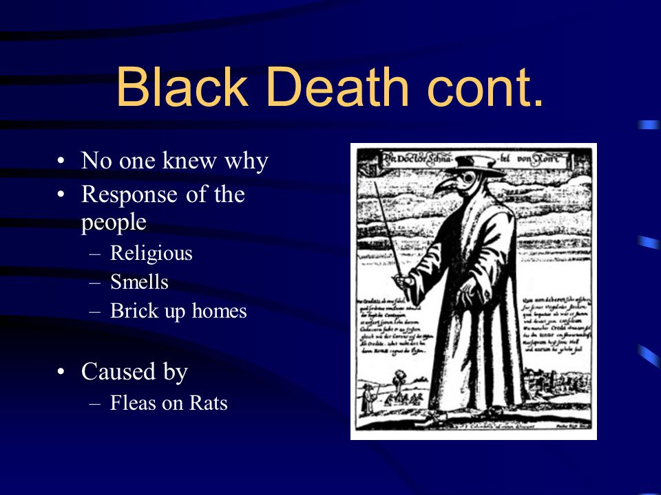 Black Death cont. No one knew why Response of the people Caused by