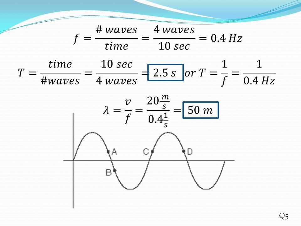 𝑓= # 𝑤𝑎𝑣𝑒𝑠 𝑡𝑖𝑚𝑒 = 4 𝑤𝑎𝑣𝑒𝑠 10 𝑠𝑒𝑐 =0.4 𝐻𝑧