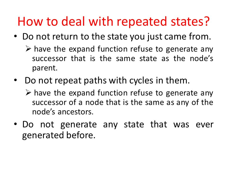 How to deal with repeated states