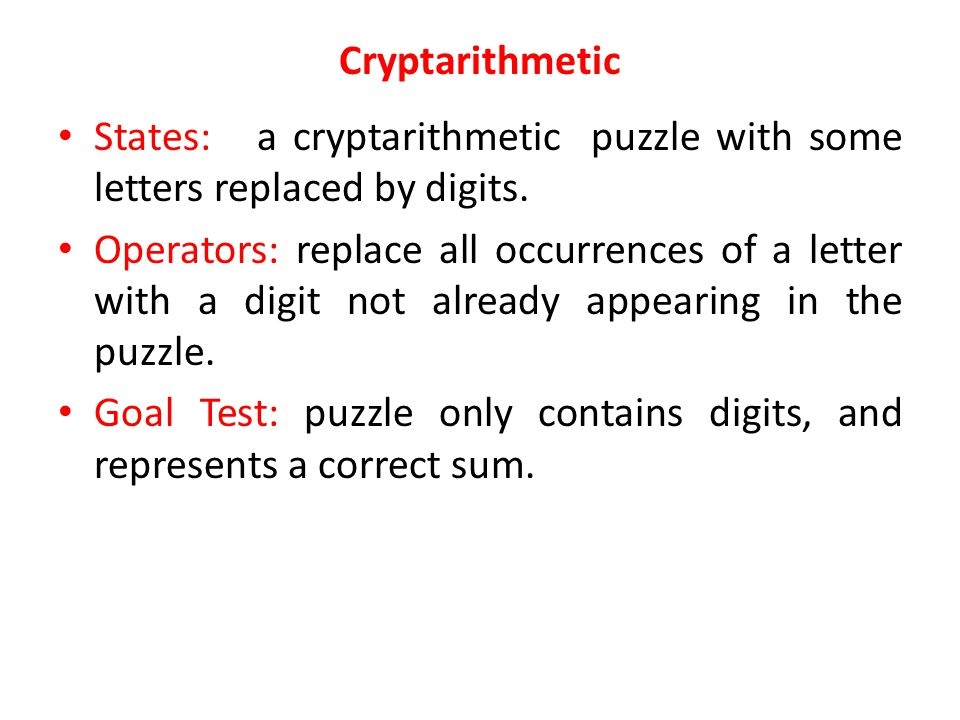Cryptarithmetic States: a cryptarithmetic puzzle with some letters replaced by digits.