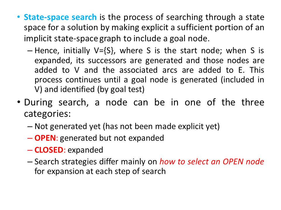 During search, a node can be in one of the three categories:
