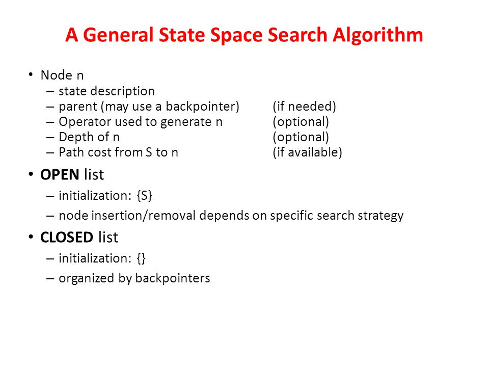 A General State Space Search Algorithm