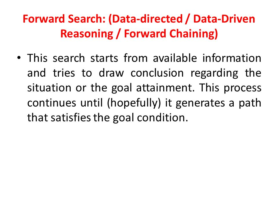 Forward Search: (Data-directed / Data-Driven Reasoning / Forward Chaining)