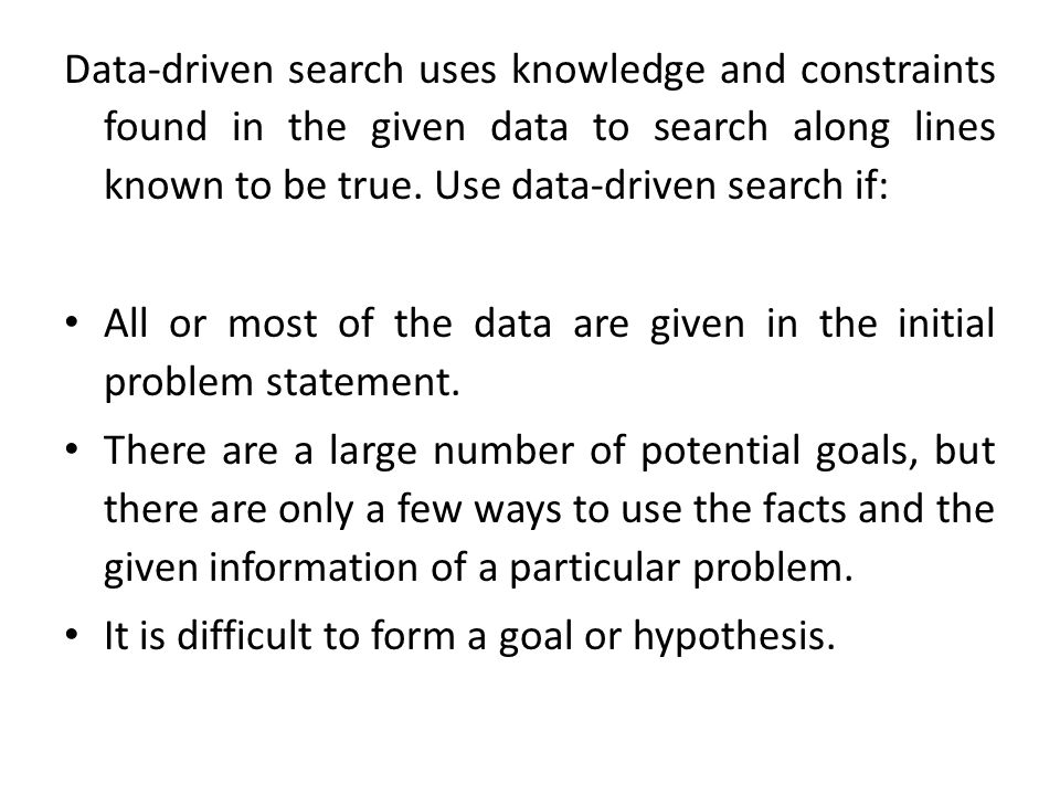 Data-driven search uses knowledge and constraints found in the given data to search along lines known to be true. Use data-driven search if: