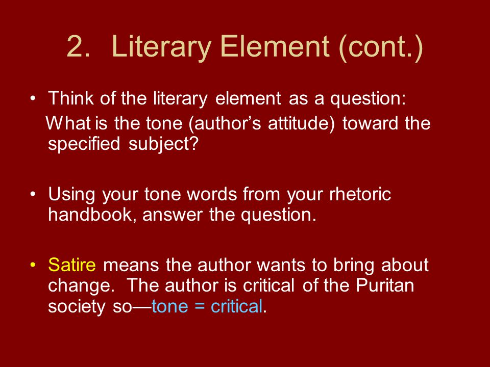 Literary Element (cont.)