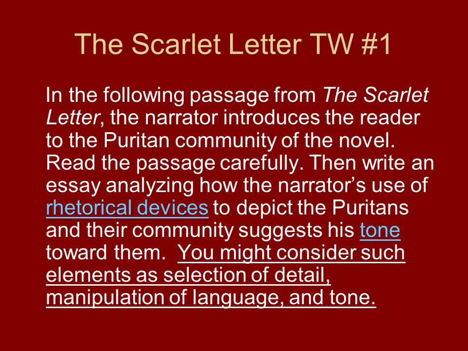 rhetorical analysis timed writings ppt video online  the scarlet letter tw 1