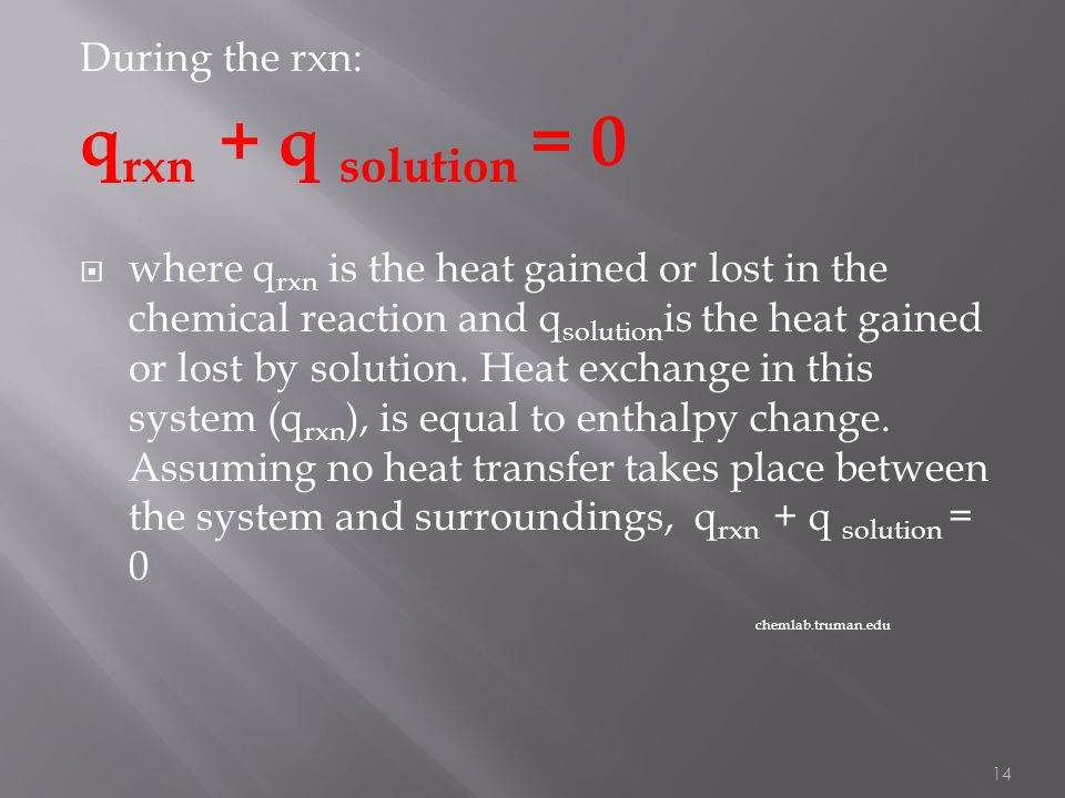 qrxn + q solution = 0 During the rxn: