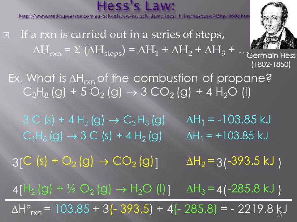Hess's Law: http://www. media. pearson. com