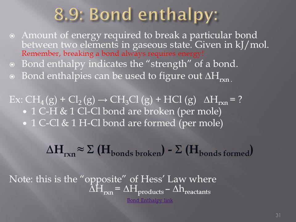 Hrxn ≈  (Hbonds broken) -  (Hbonds formed)