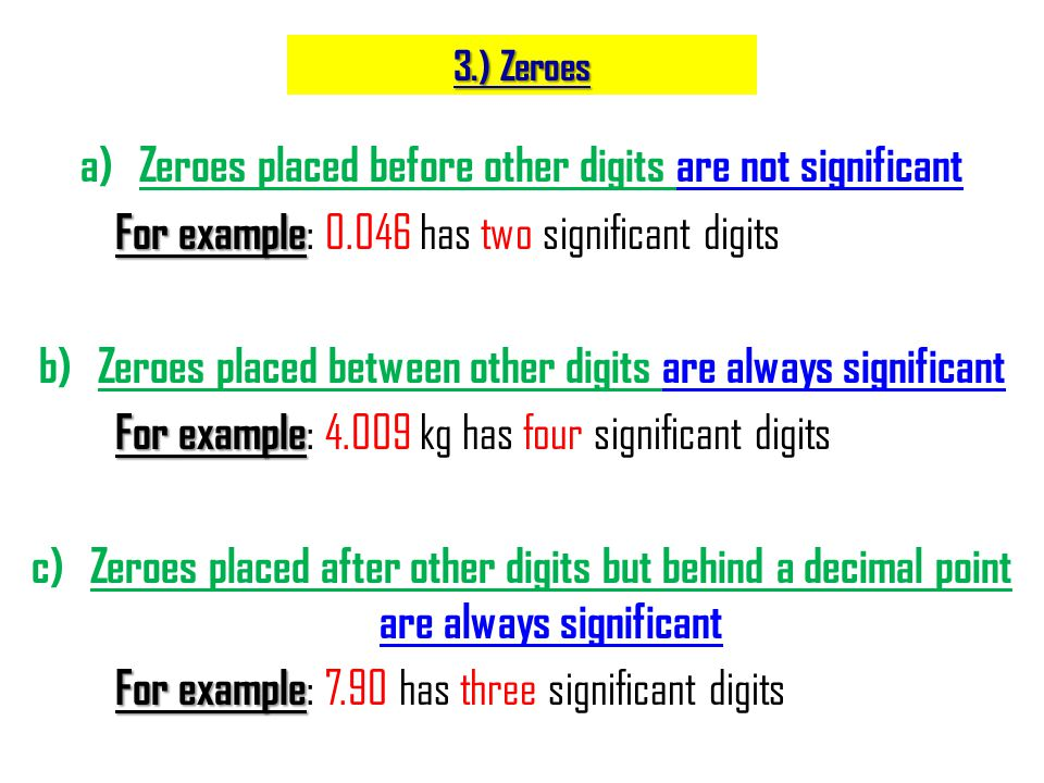 Zeroes placed before other digits are not significant