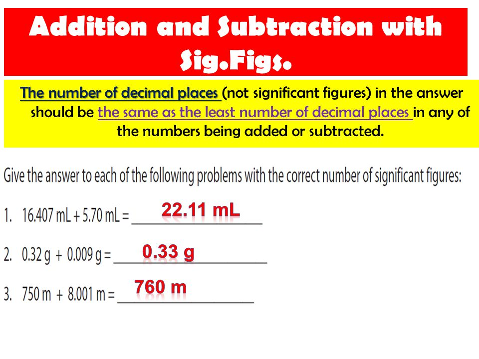 Addition and Subtraction with Sig.Figs.