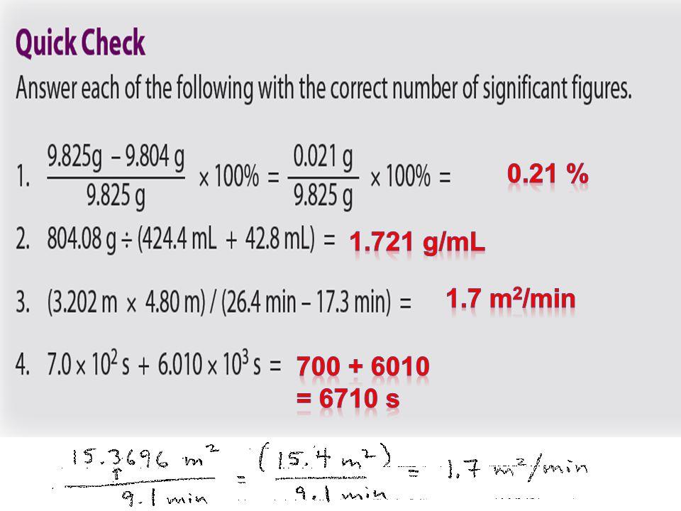 0.21 % 1.721 g/mL 1.7 m2/min 700 + 6010 = 6710 s