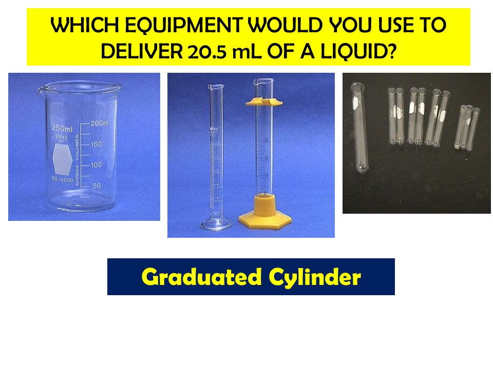 WHICH EQUIPMENT WOULD YOU USE TO DELIVER 20.5 mL OF A LIQUID
