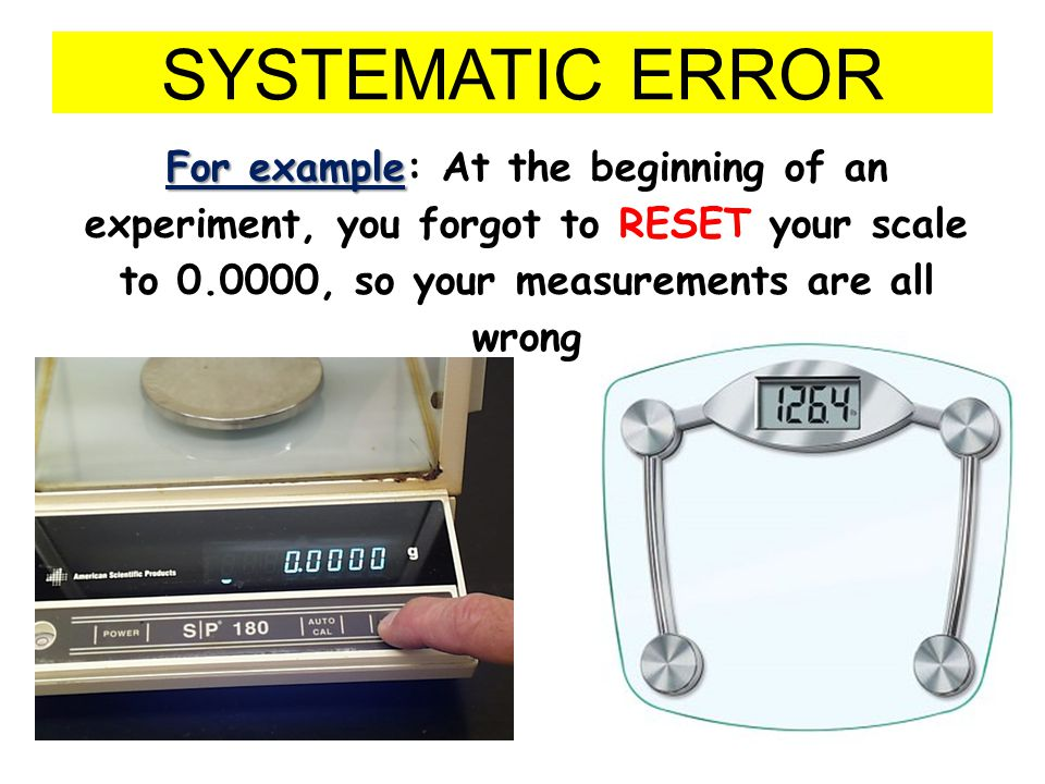SYSTEMATIC ERROR For example: At the beginning of an experiment, you forgot to RESET your scale to 0.0000, so your measurements are all wrong.